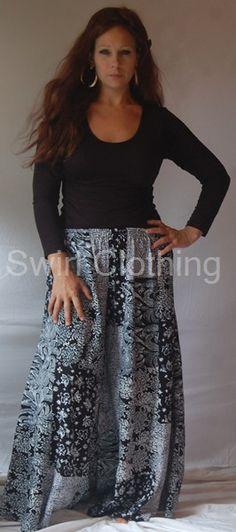 Swirl Clothing Patchwork Palazzo Pants Black White 22 24 26 28