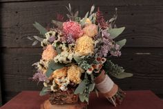 Rustic Pastel Pink and Cream Large Dried Flower Wedding Bouquet, Dried Peony Bouquet, Rustic Pastel Peony and Wildflower Bridal Bouquet on Etsy, $110.00