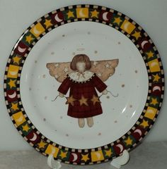 Sakura Debbie Mumm Gathering of Angels 1997 Yellow Christmas Holiday Salad Plate  - This Item is for sale at LB General Store http://stores.ebay.com/LB-General-Store ~Free Domestic Shipping