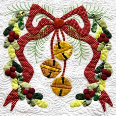 """Bow and Bells block from """"Baltimore Christmas"""" Applique quilt by Miriam Meier"""