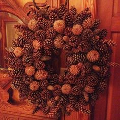 pine cone wreath ideas | Pinecone wreath made from grapevine wreath and cones from our woods ...