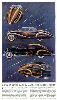 Rear-Engined Cars by Alexis de Sakhnoffsky, Sep. 1936 Esquire by aldenjewell,