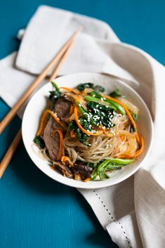 Japchae - Korean Stir-Fried Sweet Potato Noodles by jchongstudio #Noodles #Korean