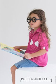 Bookworm Button Up - PDF Shirt Sewing Pattern for Boys and Girls