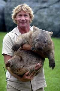 The late Steve Irwin with a cuddly wombat.  We miss you Steve!