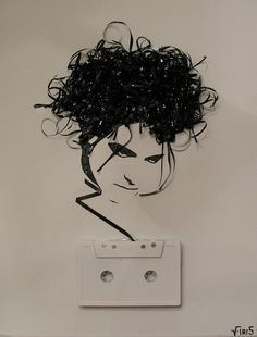 This girl makes portraits out of cassette tape!