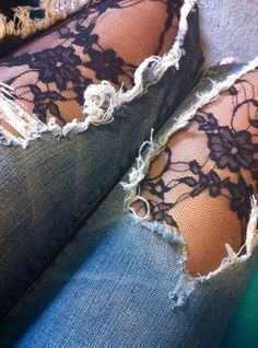 jeans with holes + lace leggings!