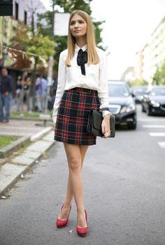 Plaid Skirt Milan #miniskirt #schoolgirl #schoolgirluniform