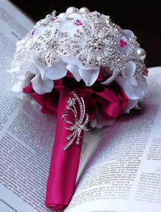 Vintage Bridal Brooch Bouquet Pearl Rhinestone Crystal Silver Fuchsia Hot Pink White