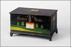 JACOB WEBER BOX, Jacob Weber (Lancaster County, Pennsylvania, 1760-1850), painted pine trinket box made for his great granddaughter Elisabet...
