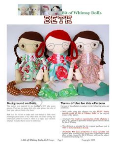 Beth Doll. Free pattern #dolls #softies #sewing #toys