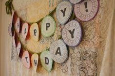 happy birthday garland - nice use of paper doilies