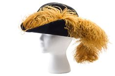 Woman's black velour hat, c. 1907. Designed by Caroline Reboux / 23 Rue de la Paix / Paris, this showy hat with ostrich feathers was retailed by E. W. Edwards & Son department store in Syracuse, N.Y, for $28.50. Charleston Museum