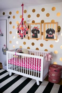 Polka dot wall plus puppies...yes!