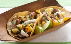 Quick and Easy Pineapple and Pork Tacos - you won't believe how easy these are to throw together! Serves 4 for Phase 1 lunch, each with a sprouted grain, spelt or brown rice tortilla.