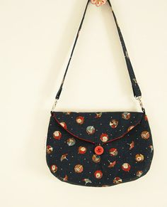 Navy blue clutch Japanese umbrellas red lining by SoHappyInRed