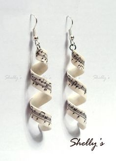 polymer earrings, polymer clay jewelry, how to make clay earrings, sheet music, music sheets, polym clay, crafty earrings, music earrings, cute polymer clay earrings