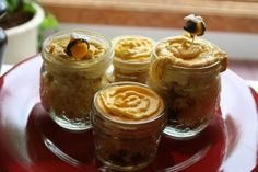 adorable little cupcakes in jars to look like honey pots