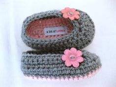 Baby Infant Girl Shoes / Slippers / Booties - Pink & Grey, Flower - YOUR choice size - (newborn - 12 months) - photo prop - clothing. $22.00, via Etsy.