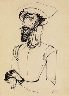 Lajos Szalay, Don Quijote, pen and ink