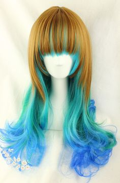 "OCEANS DAUGHTER Wig 24"" Brown Blue Mixed Heat Friendly Hair Curly Wavy Long Layered Ombre Cosplay Lolita  Anime"