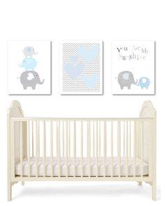 Elephants nursery art-childrens art- art prints set-elephants-grey and blue-chevrons-elephants nursery decor