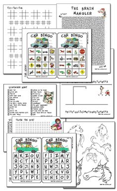 Travel games (printables) --- Printed these out for dry erase books for the kids. Mazes, scavenger hunts, learning to draw pages, etc.