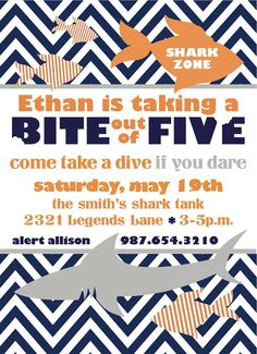 Shark Birthday Party Invitation  DoubleSided 5x7 by mjpaperie, $12.00