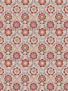 Fabricut Fabric - Midoro - Watermelon - $36.75 Per Yard #interiors #decor #home #design #ceiling #dining #room #floral #flowers #pink #orange
