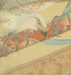From a remarkable and very rare late Edo silk kicho, featuring a trained tethered falcon