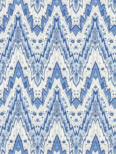 Chevron Fabric by the Yard - Modern Blue White Chevron Upholstery - Linen Chevron Drapery Fabric