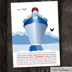 ◆Wedding, Bridal Shower Invitation - Perfect for Couples or that special Bride to be - Navy, Ship, Nautical, Anchor, Boat by Perfect Pear Designs, $16.00