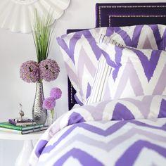 Purple chevron duvet set