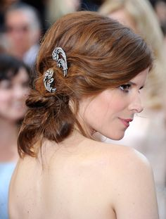 This sideswept look is perfect for the wedding reception!