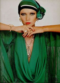 Model wearing a watch and jewellery by Fred Joaillier, 1976.