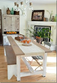 fall dining room decor, burlap tablerunner, idea, fireplac, bench, farm tables, kitchen thing