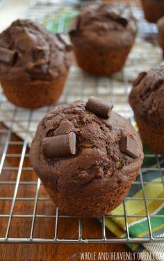 Healthy Chocolate Zucchini Muffins   wholeandheavenlyoven.com