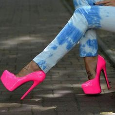 feet tattoos, neon, high heel, pump, pink, heels, barbie, shoe, bristol