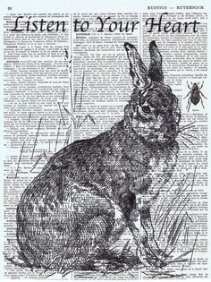 Bunny print black & white..use acid free printed stock & draw black/white images in pen/ink