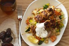 Chicken kebabs with vegetable couscous