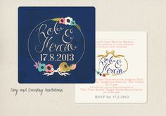 Inky Blue Love Wedding Invitation by TheLittlePosyPrintCo on Etsy