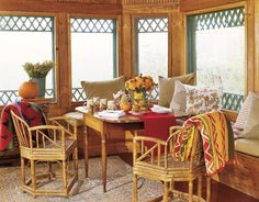 Sunroom Windows    Forgo curtains in a sunroom filled with light. Instead, install painted wooden trim around the outside of windows for a decorative touch.
