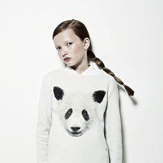White Winter sweater with black animal print!Photography Maxine Helfman