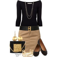 Black & Khaki, created by traceyj12 on Polyvore