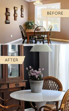 Today's second Before & After is from Heather Jorde and her husband, who have managed to add transformational character to a once unremarkable space.