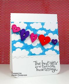 "Just got a new stamp sentiment that says, ""Love is in the air""...would be great to use with this card idea!"