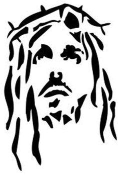 christ, thorns christian, craft, jesus face tattoo, faith, card easter, christ silhouette, stencil tattoo, jesus stencil, design