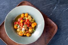 Millet Polenta with Blistered Cherry Tomatoes and Dill