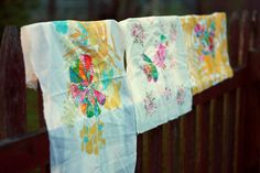 Sew Slowing: Stitching by Hand. Cool appliqué on vintage linens.