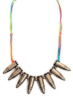 Neon Rainbow Bullet Necklace